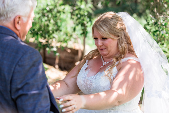 Bride crying looking at her father for the first time in her wedding dress.