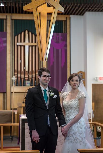 Highwood Lutheran Church Wedding, Bride and Groom just married