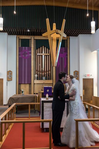 Highwood Lutheran Church Wedding, first kiss