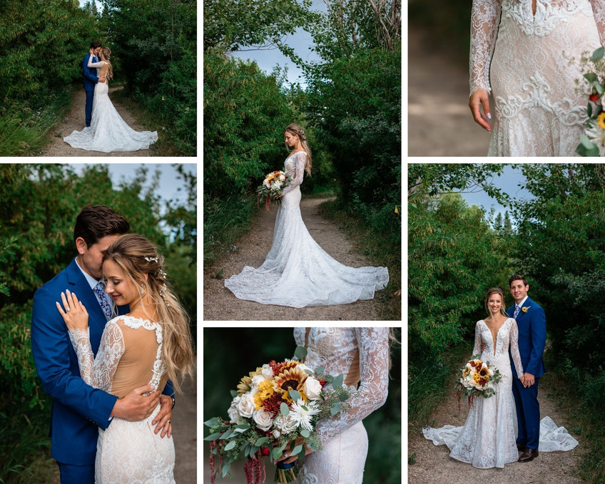 Couple embracing on a path in the trees. Brides bouquet is showcased. Bride standing alone with her dress spread out around her feet.