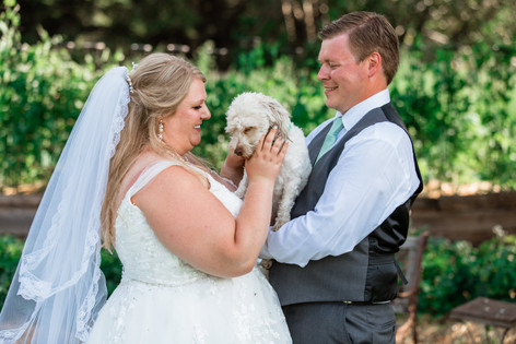 Bride petting their dog who is being held by the groom. They are standing on a bridge.