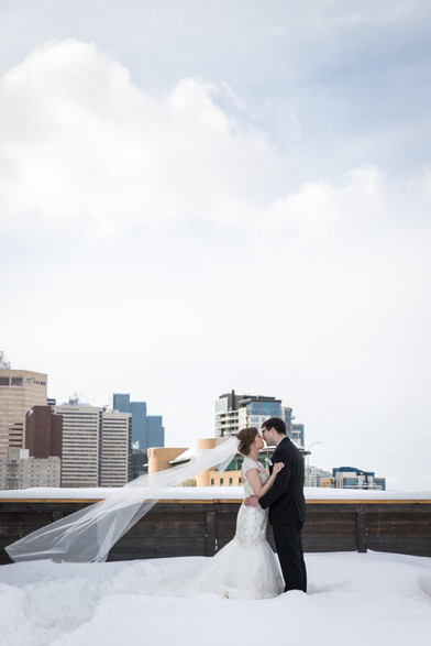 Downtown Calgary Winter Wedding Formal Photos, Bride and Groom
