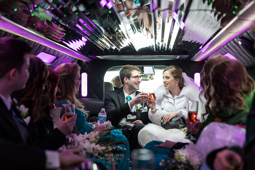 Calgary Char Bar Wedding, Bride and Groom Limousine ride