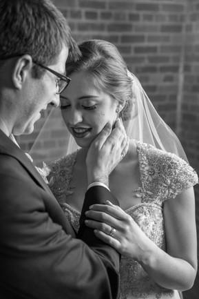 Calgary Char Bar Wedding Reception Bride and Groom Portrait, Black and White
