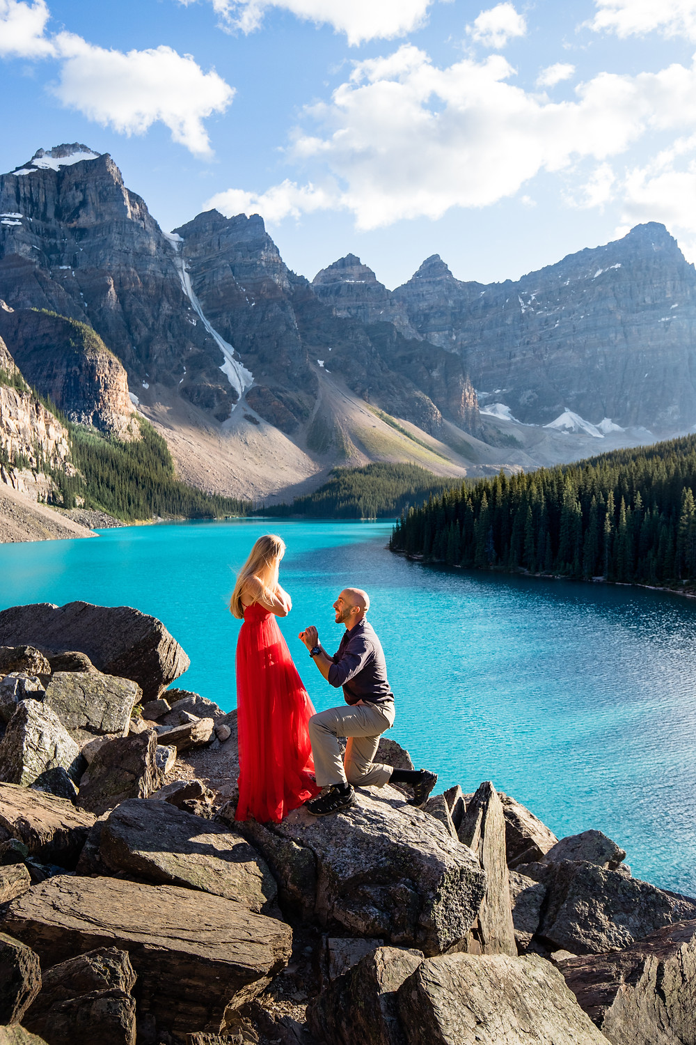 Moraine Lake, Surprise Proposal, Down on one knee, banff national park