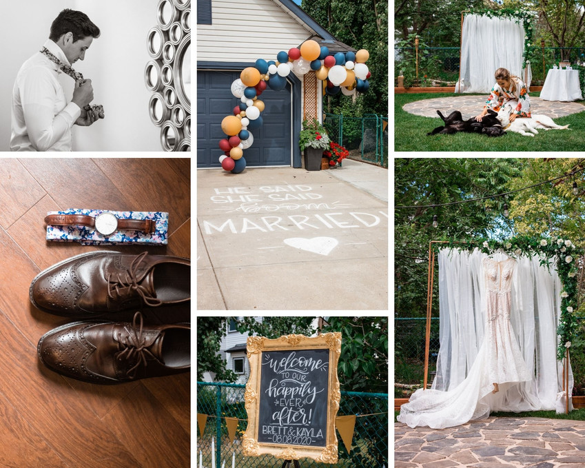 Wedding details showing shoes, watch, sign, bridal dress, balloon archway.