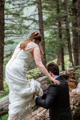 Groom holding brides dress up as she walks over branches at Banff National Park