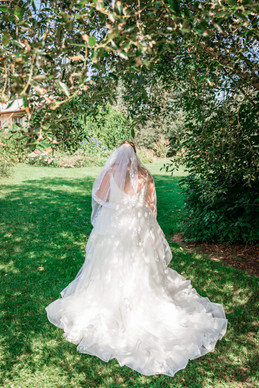 Photo of the bride standing back on showing her dress from behind with her veil showing in a beautiful part of the garden.