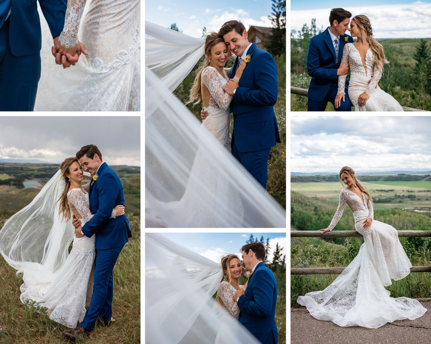 Couple posing on wooden fence. Brides veil is blowing in the wind.