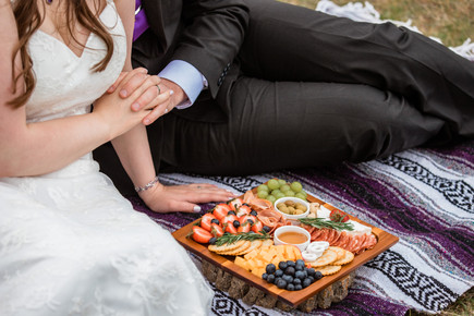 Bride and Groom holding hands on a blanket at Cascade ponds having a charcuterie board.