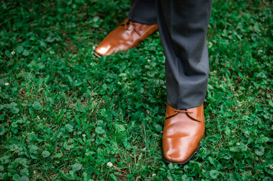 Grooms classy wedding shoes.