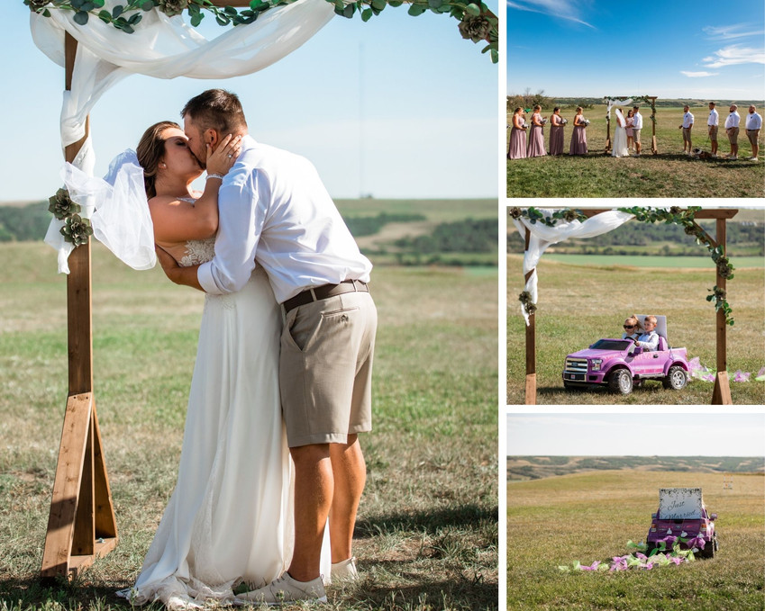 Farm wedding ceremony set up, bride and groom's first kiss as married couple.