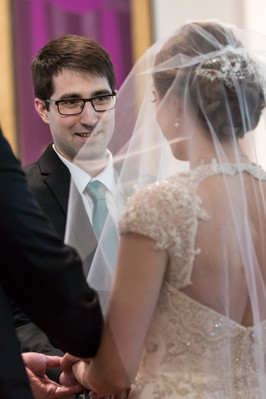 Highwood Lutheran Church Wedding, Groom smiles at bride