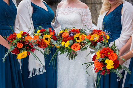 Wedding flowers, bridal party flowers, floral shot