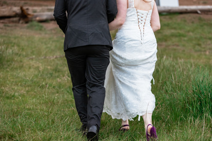 Bride and groom walking away holding hands at Banff National Park.