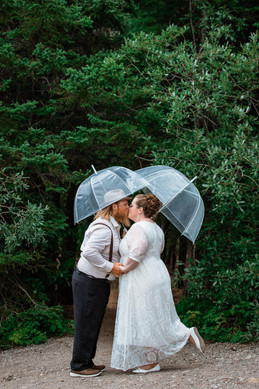 Bride and groom kissing under clear umbrellas in front of the trees.