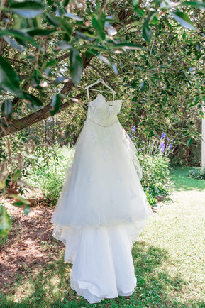 Brides dress hanging from a tree in a garden.