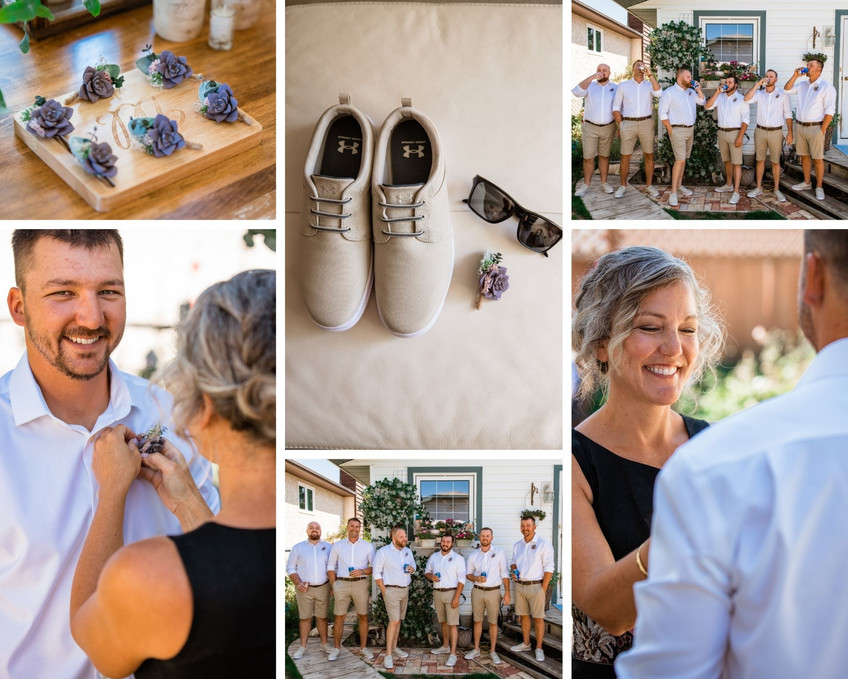 Groom getting ready photos, boutonniere ideas, mom putting on boutonniere