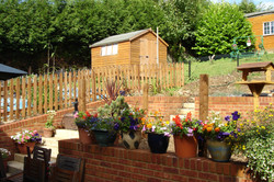 stepped garden with brick walls