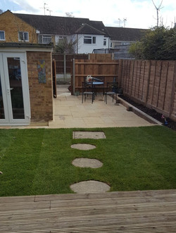 Decking lawn and patio
