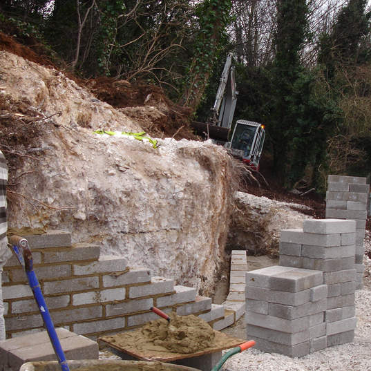 beginings of the curved retaining wall