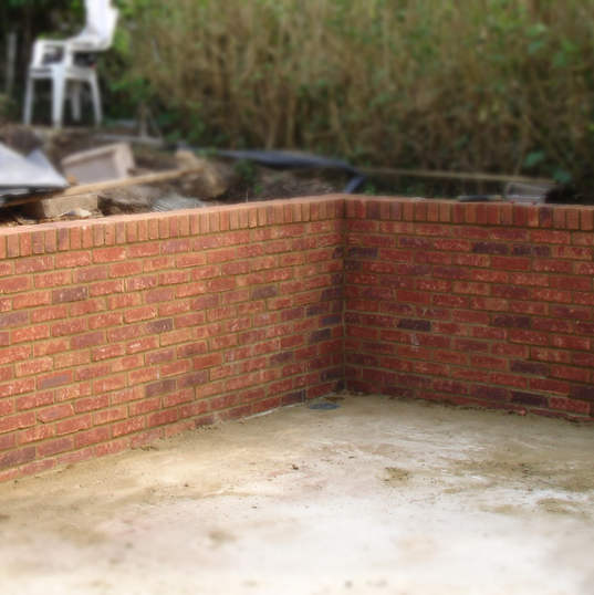 Brick work retaining wall Hunsden Road Cottages