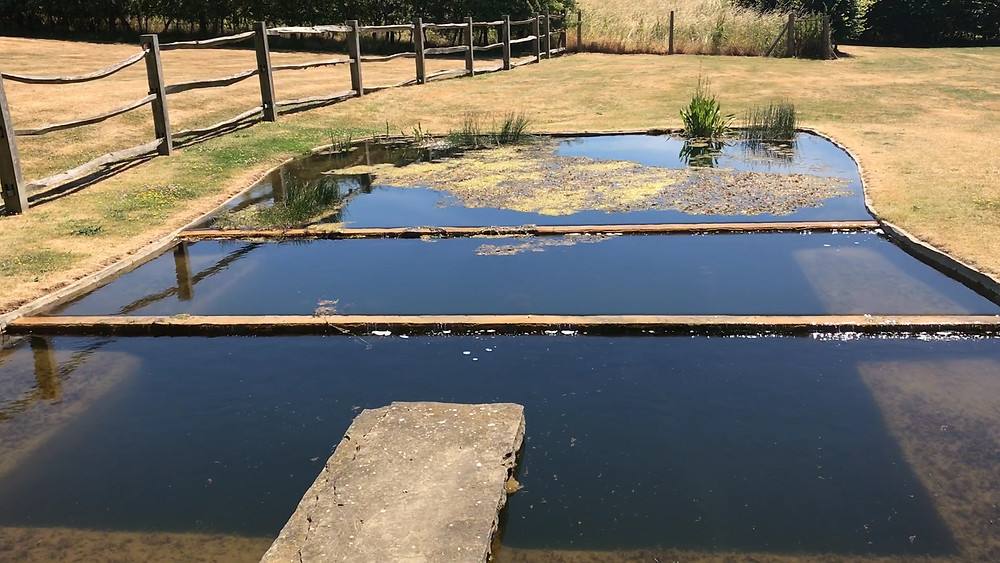 120 cubic metre settling tank with 3 concrete walls keep the water in this system clear.