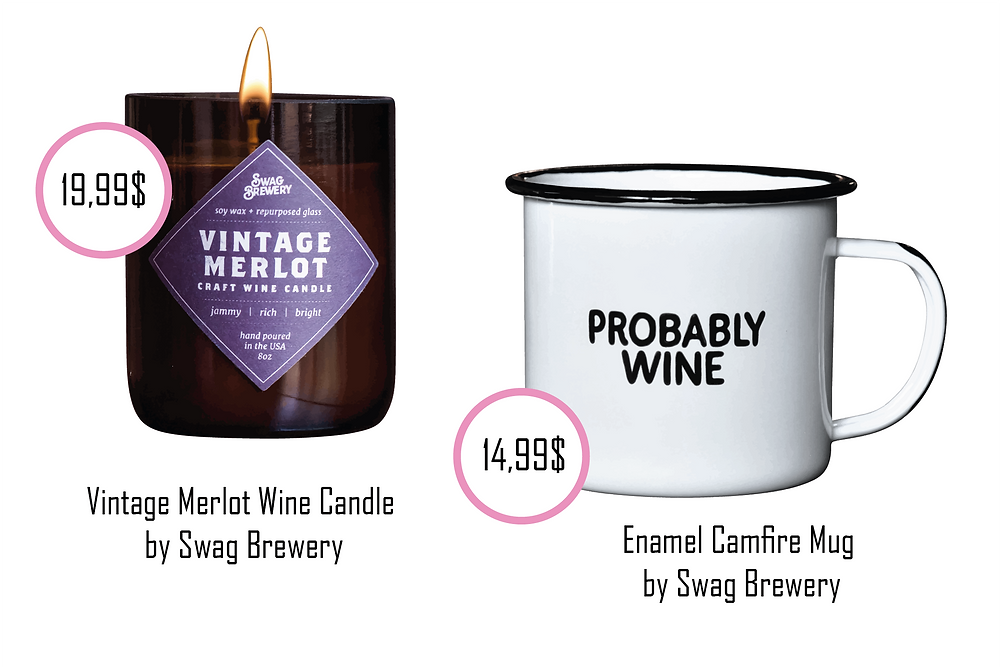 """funny enamel cup saying """"PROBABLY WINE"""" or the cute Merlot Candle"""