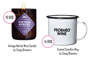 "funny enamel cup saying ""PROBABLY WINE"" or the cute Merlot Candle"