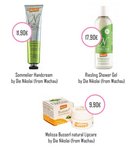 "Sommelier Hand-Cream, the Melissa ""Kisses"" Lipcare and of course the Riesling Shower Gel"
