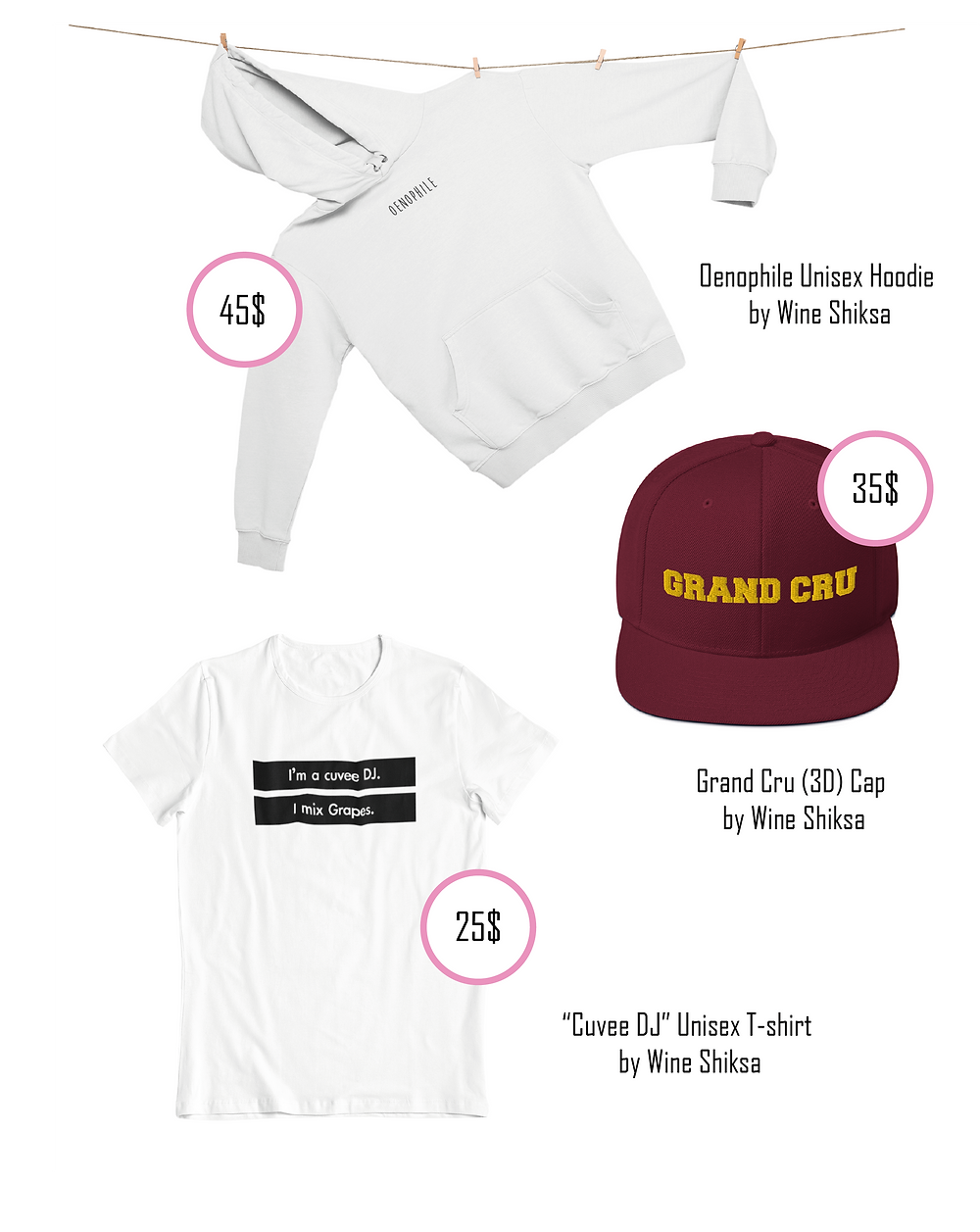 Wine Wear T-shirts Hoodies and Caps