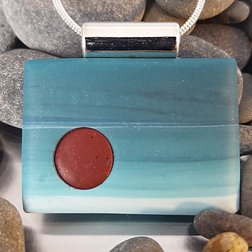 Deep Red Moon in Muted Blue Sky Pendant