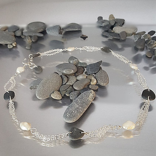 Keishi Pearl & Beach Stone Necklace