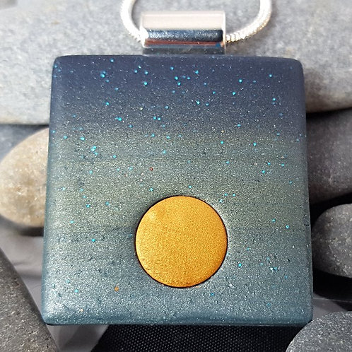 Blue to Silver Green Ombre Gold Moon Pendant