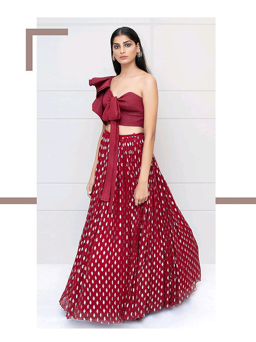 Ruby Red Lehenga with Knotted Top
