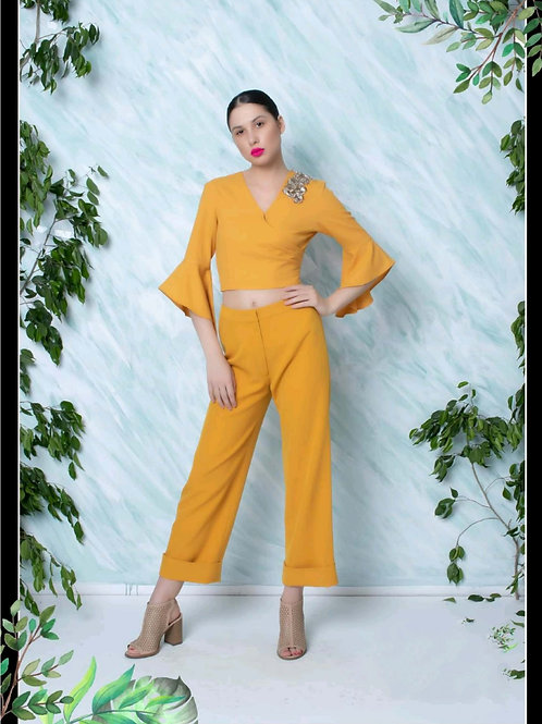 Mustard 3D Embroidered Top