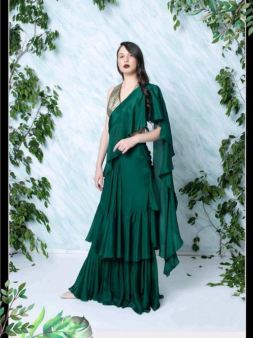 Emerald Green Drape Saree