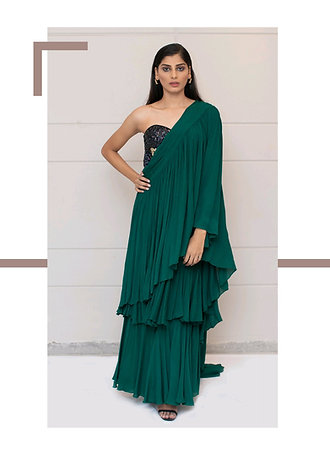 Green Ruffle Saree