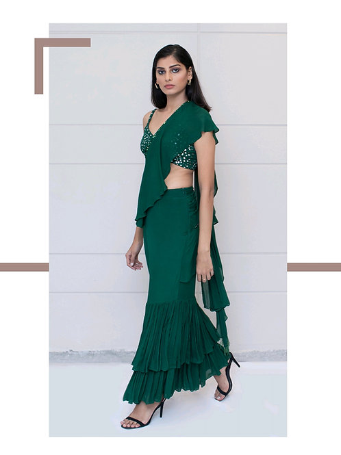 Green Saree with Patra Work Blouse
