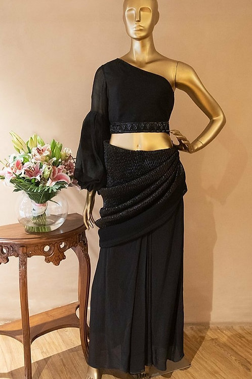 Drape Skirt with Statement Sleeve Top
