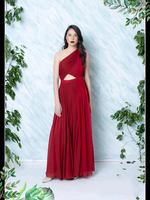 One-Shoulder Drape Gown