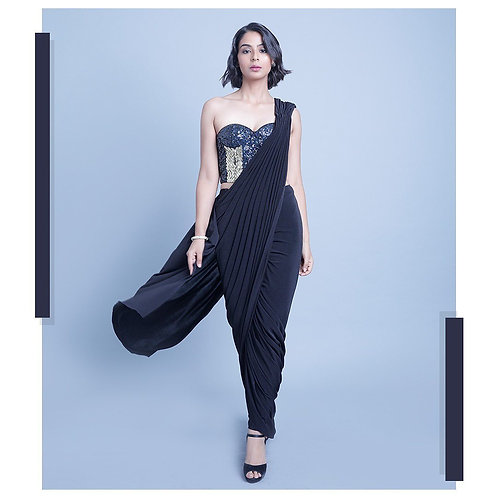 Black Drape Saree with Corset