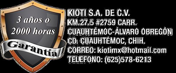 Kioti 3 años o 2000 horas de garantia