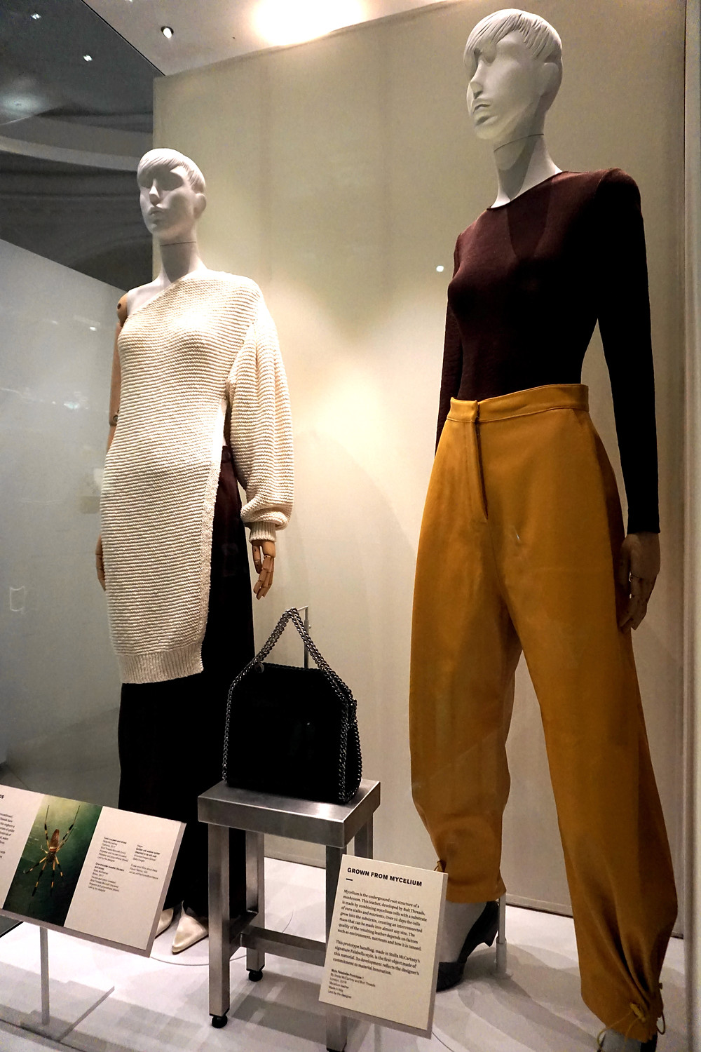 Outfits made of Microsilk and bag made of Mylo by Stella McCartney in collaboration with Bolt Threads, 2017