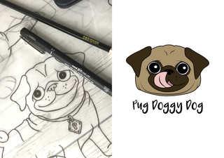 logo sketch - Pug Doggy Dog