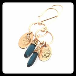 kyanite buddha head earrings gf 1