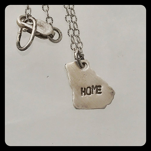 "Georgia State Necklace stamped ""Home"""
