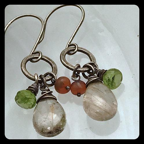 Rutilated Quartz Peridot and Opal earrings