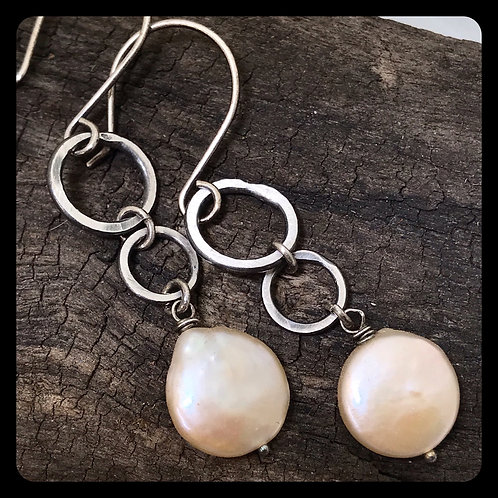Ring Ring Sterling Silver and Pearl Earrings
