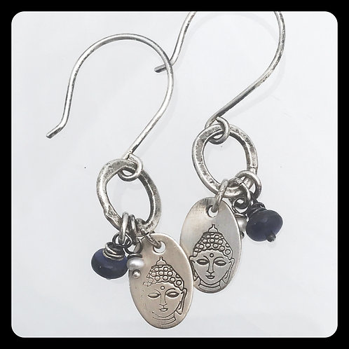 Buddha Iolite Pearl Sterling Silver Earrings